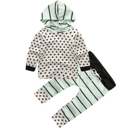 Boy cross t shirt online shopping - AiLe Rabbit Autumn Newborn Infant Baby Boys Sets Long Sleeve T Shirt Pants Pieces Cross Hoodies Cotton Home Clohtes