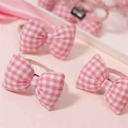 Wholesale Gumprun Children s Baby Headband Cute Butterfly Pink Plaid Leather Rope Baby Hair Accessories Light Texture Girl Accessorie