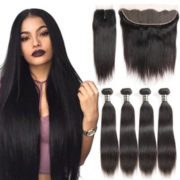 kinky curl human hair bundles closure 2019 - Brazilian Straight Virgin Hair Bundle Deals Remy Human Hair Weave 4 Bundles with Closure 13x4 Lace Frontal Bundles Deep