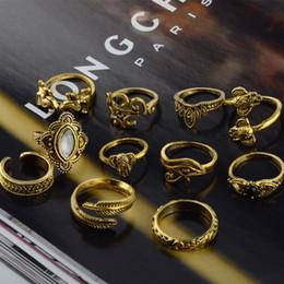 Discount wholesale fashion stack rings - 11pcs set Punk Crystal Ring Bague Anel Shellhard Boho Leaf Elephant Finger Knuckle Stacking Midi Rings Set Fashion Women