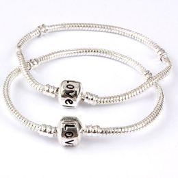$enCountryForm.capitalKeyWord Australia - Hot sale New 16-23cm Silver Plated Love Letter Bangle Snake Chain Clasp Beads Charm Bracelets Fashion Jewelry