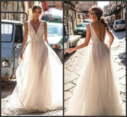 $enCountryForm.capitalKeyWord Australia - 2019 New Berta Bride Lace Wedding Dresses Backless Deep V Neck Lace Appliqued Boho Bridal Gowns Illusion Bodice Tulle Wedding Dress 2018