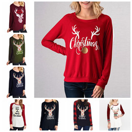 42df39bb030364 Christmas Letter Printed T-shirts Women 37 Styles Long Sleeve O Neck T Shirt  Elk Print Tops Tunic Blouse Casual Tops Home Clothing OOA5720