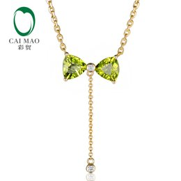 Peridot Pendant necklace yellow gold online shopping - 14K Yellow Gold ct Trillion Cut Peridot ct Natural Diamonds Lovely Engagement Pendant Necklace S923