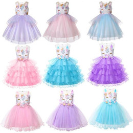 3f6b14c7487e Girls boutique dresses online shopping - Baby girls unicorn dress children  TUTU lace Tulle princess dresses