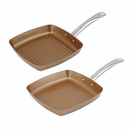 Wholesale Copper Kitchen UK - 2pcs Copper Coating Bottom Frying Pans Non -Stick Square Grill Pan Multifunction Cookware Set Kitchen Cooking Tools