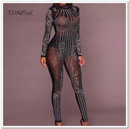 bffa5f83b8a Jumpsuits Rhinestones Canada - Sexy Mesh See Through Jumpsuits Women Skinny  Long Sleeve Sequined Transparent Bodycon