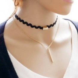 $enCountryForm.capitalKeyWord Australia - Double Layers Choker Wave Black Chain Necklace Clavicle With Metal Stick Simple Fashion Women Necklace