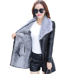 China [CHENS SISTER] Winter 2018 New Fashion Leather PU Jacket Big Fur Collar with Belt Long Plus Size PU Jacket Outwear Coat suppliers