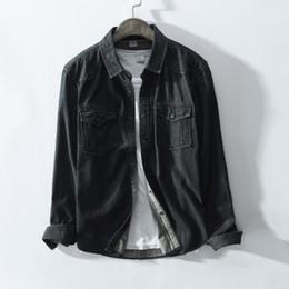 Denim shirt men spring online shopping - Brand Spring New Men Casual Black Denim Shirt Cotton Fashion Slim Long Sleeve Shirts Male Clothes Single Breasted With Pocket for Men