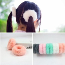 Rabbit Hair Ponytail Australia - 100pcs Women Girls Hairband Imitation REX RABBIT fur Elastic Hair Bands Cute Soft Ponytail Hair Holder Rope Hair Accessories headwear FJ3353