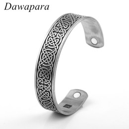 Discount engraving plates for bracelets - Dawapara Viking Slavic Vintage Engrave Luck Celtic Knots Health Magnetic Cuff Bangles & Bracelets Jewelry For Gifts