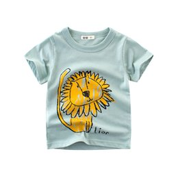 $enCountryForm.capitalKeyWord Canada - Cute Lion Printed Kids Boys T-shirt Breathable Short Sleeve Cotton Tee Shirt Round Neck Toddler Baby Boys Tops