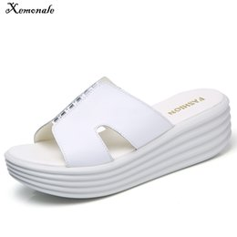 casual shoe thick heel UK - Xemonale Leather Shoes Women Slip on Casual Sandals Summer Shoes Thick Sole Punk Rivet Covered Flat Heels Sandals Shoes Ladies