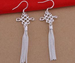 $enCountryForm.capitalKeyWord NZ - 2019 new ethnic style Women's earrings S925 sterling silver plated Fashion Chinese knot long tassel peacock earrings 1 pair wholesale