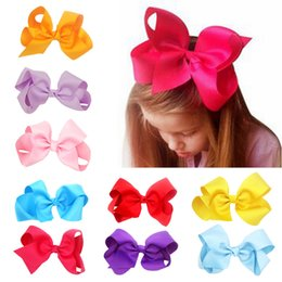Style Clip For Children Canada - 6 Inch Mix Colors Hair bows for Children Trendy Bow Jojo Bows With Clip For School Baby Children 24 Style For valentines