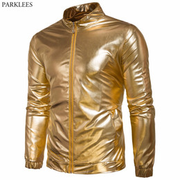 shiny short men Canada - Shiny Metallic Jacket Men 2017 Gold Night Club Mens Jackets Coats Hip Hop Bomber Jacket Casual Pocket Male Jacket Veste Homme