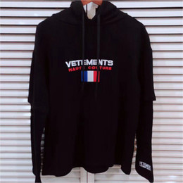 Long fLags online shopping - Vetements Hoodie Autumn Winter Fashion Casual Streetwear Vetements Sweatshirts France Flag Embroider Vetements Hoodie Pullover