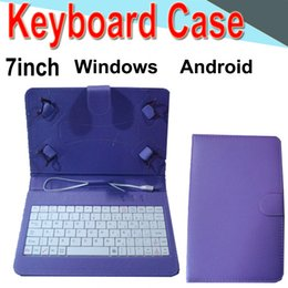 keyboard case cover phone 2019 - 7inch Wire Keyboard Case Cover for Android Windows Ultra Thin Wireless ABS Keyboard PU Case Universal Mobile Phone EXPT-