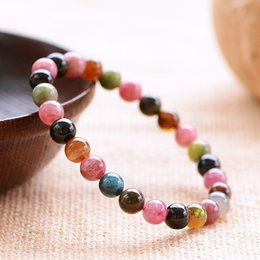 $enCountryForm.capitalKeyWord NZ - Candy Color Natural Tourmaline Bracelet Genuine Crystal Beaded Bracelets For Women Health Care Energy Jewery