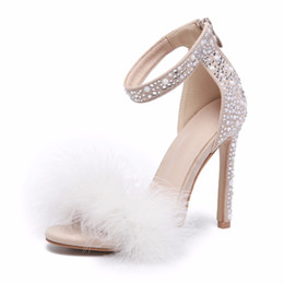 $enCountryForm.capitalKeyWord UK - Feather Crystal High Heel Sandals Fancy Glittering Crystal Ankle Wrap Stiletto Heel Dress Sandals Wedding Shoes Apricot