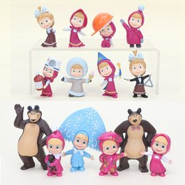 Chinese  5-10cm the Bear Painter Snow Maiden with teddy Girl Masha Action Figure PVC Figure Model Toy Dolls manufacturers