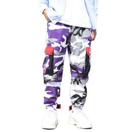 203287ca70e Purple Skateboard Couleur Pantalons Hommes Coton Camo Hip Hop De Mode Cargo Pantalon  Militaire Style Armée Broek Mens Streetwear Joggers