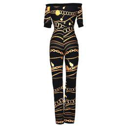 $enCountryForm.capitalKeyWord NZ - Zmvkgsoa Off Shoulder Ladies Jumpsuits Bodycon Bodysuit Overalls For Women Jumpsuit Romper Chain Print Playsuit Club Wear Y1834