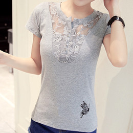 Wholesale butterfly print white tops for sale - Group buy Female Cotton T Shirt Butterfly Print T Shirts Women New Summer Lace Short Sleeve Casual Clothing Gray White Tee Tops