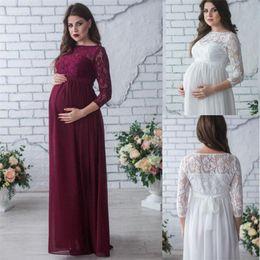 2ec2aca66 Nueva venta caliente vestido de maternidad apoyos de la fotografía desgaste  del embarazo elegante partido de encaje vestido de noche ropa de maternidad  para ...