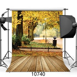 background backdrop floor NZ - fallen leaves photography backdrops wooden floor big tree street backgrounds for photo studio for theater vinyl cloth 3d custom