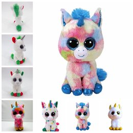 Discount christmas novelty gifts items - TY Beanie Boos Plush Doll 17cm Unicorn Stuffed Animal Soft Big Eyes Kids Toys Christmas Gift Novelty Items 200pcs OOA555