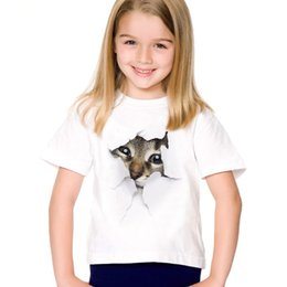 unisex cat tee shirt NZ - Tees Fashion Summer Cute Children Brand Clothing For Kids Girl Short Sleeve Print 3d Cat T Shirts Tops Baby Clothes