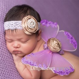 Angel Accessories online shopping - Fashion baby angel butterfly wings lace flower headband photo set Cosplay costume photography props angel wings Hair Accessories BAW13