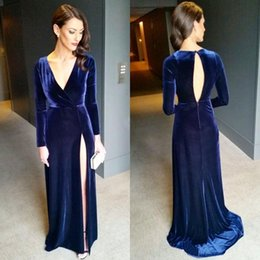 Sexy Winter Shirts Canada - 2019 Sexy Navy Blue Long Sleeves Evening Dresses Winter Style High Split Open Back Long Velvet Prom Dresses Luxury Celebrity Dresses E126