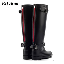 China Eilyken Punk Style Zipper Tall Boots Women's Pure Color Rain Boots Outdoor Rubber Water shoes For Female 36-41 Plus size cheap rain water shoe suppliers