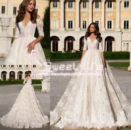 Wholesale Milla Nova Vintage Ball Gown Wedding Dresses Jewel sleeve Covered Button Illusion Back Full Lace Appliqued Sweep Train Bridal Gowns