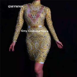 $enCountryForm.capitalKeyWord Australia - E13 Gold printed Jumpsuit pole dance costumes catwalk singer wears performance bodysuit dj dress show party outfits ds clothe skirt gogo ds