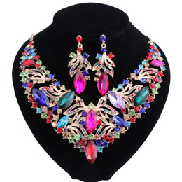 Wholesale asian fashion costumes online – oversize Fashion Necklace Earring Sets Vintage Bridal Jewelry Sets Rhinestone Party Wedding Prom Costume Accessories Decoration for Women