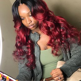 Two Tone Hairstyles Wigs Australia - Ombre Full Lace Human Hair Wigs For Black Women T1b 99j Two Tone Brazilian Virgin Hair Loose Wave Lace Front Wigs 130% Density