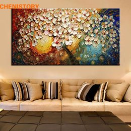 Discount modern abstract flower paintings - unframed Handpainted Canvas Wall Art Abstract Painting Modern Acrylic Flowers Palette Knife Oil Painting for Home Decora