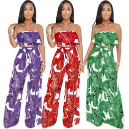Wholesale low waist sexy legging pants for sale - Group buy European and American sexy wrapped chest waist ruffled wide leg pants two piece set low cut Wide leg Trousers