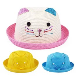 Kids straw brim hats online shopping - Children Baby Cap Fashion Leisure  Braided Straw Hat Lovely 5fdf89d1797