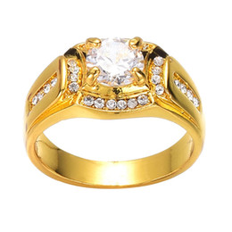China New Arrivals Gold Rings Classic Fashion Dimond Ring For Men Rhinestone Wedding And Engagement supplier gold dimond suppliers