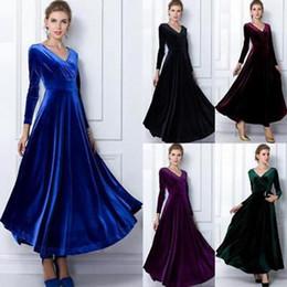 18f3f1b77c Gold Velvet Long Dress Long Sleeve Dress Solid Elegant Look Women V- Neck 5  Colors LJJA8