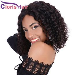 brazilian deep curly human hair short 2018 - Pre Plucked Glueless Lace Front Wigs For Black Women Deep Wave Malaysian Virgin Human Hair Short Pixie Bob Wigs Cheap Cu