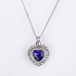 $enCountryForm.capitalKeyWord Australia - Cheap Blue Diamond Wedding Pendants Zrconia Necklace Silver Chain Bridal Jewelry Urn Necklace Usa Australia ocean heart blue gemstone