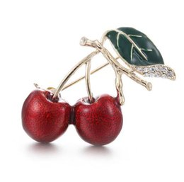 $enCountryForm.capitalKeyWord UK - Red Enamel Brooches For Women Kids Cherry Brooch Corsage Small Bouquet Hijab Pins Feminino Party Bag Dress Accessories