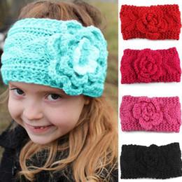 $enCountryForm.capitalKeyWord NZ - New Girls Kids Winter Big Wool Crochet Headbands Camellia Flowers Baby Ear Warmers Hair Band Children Braided Beanies Cap