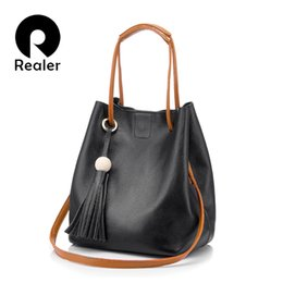 b589c71e7cbf REALER drawstring ведро Сумка женщины натуральная кожа сумка женский плечо  crossbody сумка с кисточкой женская Марка сумка черный Y18102603